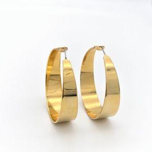 Gold Tone Wide Hoop Earrings